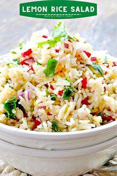 Rice Salad Recipes, Salad Dressing Recipes, Rice Side Dishes, Vegetable Side Dishes, Vegetarian Recipes, Cooking Recipes, Healthy Recipes, Lemon Rice, Savory Salads