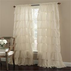 Gypsy Shabby Chic Ruffled Window Curtain Panel
