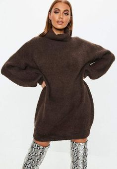 16d214f15 Missguided Chocolate Premium Fluffy Turtle Neck Sweater Dress