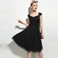 Vintage 1950s V Neck Elegant Slimfit Short Sleeve Party Dress