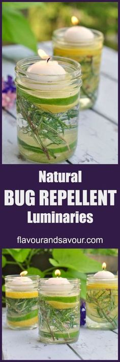 Easy to make Natural Bug Repellent Luminaries using essential oils. Light before your guests arrive to help ward off insects and add a magical touch to your table setting.