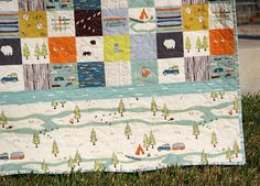 Baby Boy Organic Quilt, Camp Sur Patchwork Blanket, Hiking Canoeing Outdoors, Wildlife Fox Forest Woodlands, Camping Tent, Boy Girl Bedding
