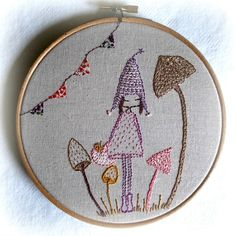 Mushroom pixie embroidery pattern pdf by LiliPopo on Etsy