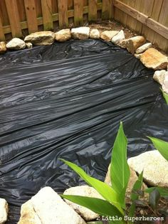 building a sandbox for under 100, diy, outdoor living, Landscaping fabric all laid down