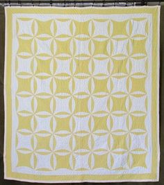 Gorgeous! dated 1920 Antique Sunshine Yellow & White QUILT