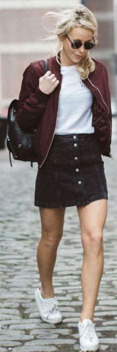 Mary Seng + ultra cute + bomber jacket outfit + button front skirt + simple white tee + sneakers + stylish burgundy bomber + perfect fresh look Jacket/Skirt/Tee: Topshop, Sneakers: Nonames, Backpack: Coach.