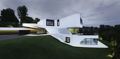 Dupli Casa, a futuristic villa near Ludwigsburg, Germany by J. Mayer H. The team of J. Mayer H. Architects designed this futuristic home outsid Architecture Design, Amazing Architecture, Houses Architecture, German Architecture, Modern House Design, Home Design, Modern Houses, Villa Design, Design Design