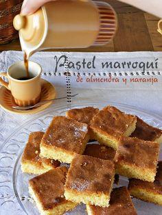 Pastel marroquí de almendra y naranja, Morrocan Food, Tasty, Yummy Food, Almond Cakes, Croissants, Vegan Cake, Food Waste, Sweet And Salty, International Recipes