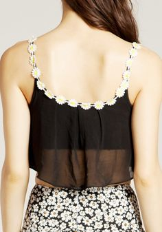 Daisy Overlay Crop Top - Chiffon Shell Tank Top-would be so cute with a daisy tank underneath