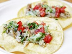 Slow Cooker Green Chili Pork Tacos: Pork Loin + Salsa Verde + Lime Juice + Onion + Cilantro + Tomatoes +  Corn Tortillas