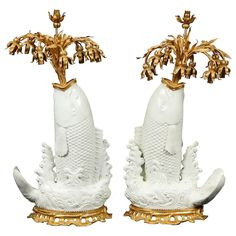 For Sale on - A very fine and quite unusual pair of antique Chinese fish-form Blanc de Chine porcelain vases mounted with beautiful antique French Louis XV style doré Bronze, Vintage Lamps, Porcelain Vase, French Antiques, Fountain, Beautiful, Modern Table, Table Lamps, Lighting