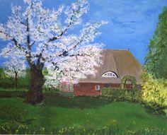 Bauernhaus im Frühling am Bodden