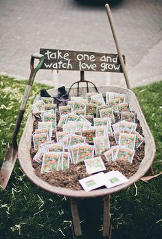 Seed favours in a wheelbarrow #wedding #ideas #inspiration