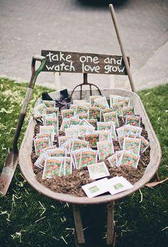 Seed favours in a wheelbarrow #wedding #ideas #inspiration
