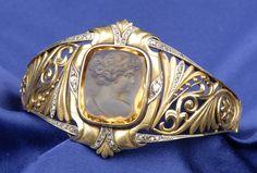 Art Nouveau 18kt Gold, Citrine Cameo, and Diamond Bracelet
