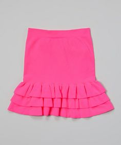 Look at this #zulilyfind! Neon Fuchsia Ruffle Skirt - Girls by Malibu Sugar #zulilyfinds