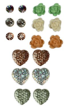 #flowers, #hearts, and studs multiple #earrings set   $7.12
