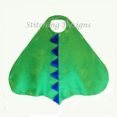 Easy dinosaur cape pattern - only 2 pattern pieces and a total of 6 pieces Size - From back of neck to tip of the tail - 24