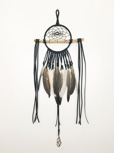 The Black Hawk Dreamcatcher - Natural Wood Branch Wall Hanging Dream Catcher, Leather Lace with Accent feathers, Hanging Crystal or Gemstone