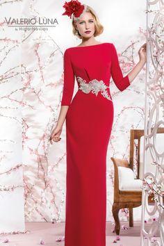 Vestido largo de madrina color rojo modelo 4538 Valerio Luna by Higar Fiesta | Boutique Clara