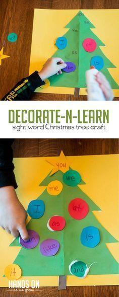Decorate the Christmas tree - and learn sight words! via @handsonaswegrow