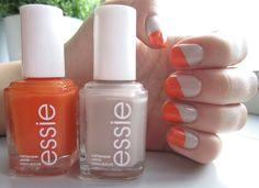 Orange and Beige Nails