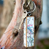 DIY keychain using jenga blocks - great way to remember trips!