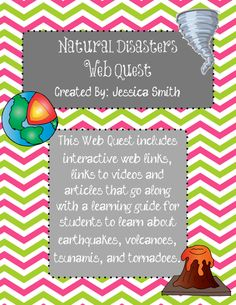 Natural Disasters WebQuest- students will explore different natural disasters through interactive websites and create a quest exploration. Primary Science, 6th Grade Science, Science Classroom, Teaching Science, Classroom Activities, Classroom Ideas, Expeditionary Learning, Weather Lessons, Interactive Websites