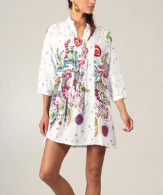 White & Pink Abstract Pleated Notch-Neck Tunic #zulily #zulilyfinds