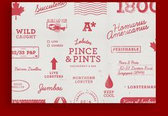 Branding for Pince & Pints, a local restaurant and bar that specialises in lobster dishes.