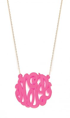 Colorful acrylic monogram necklaces.  Love!