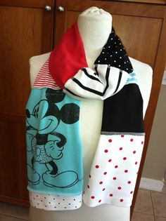 UPCYCLED tshirt scarf Mickey Mouse Disney red by verbositytees, $20.00