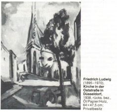 "Photograph of ""Kirche in Düsseldorf"" by Friedrich Ludwig taken from a 4 page newsarticle about the artist in ""Weltkunst"", Friedrich, Ludwig, Kirchen, Photograph, Artist, Painting, Art, Photography, Artists"