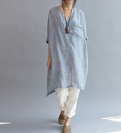 summer Women linen Loose Fitting Linen Long Shirt by MaLieb