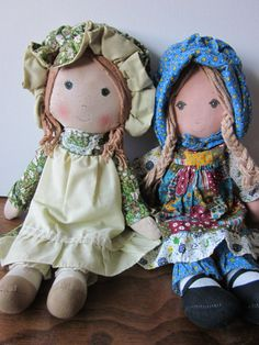 Vintage Knickerbocker Holly Hobbie Rag Dolls... I have the one on the left.... Still after all these years!