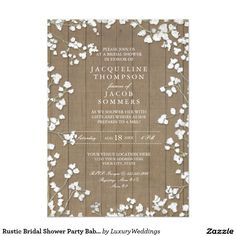 Rustic Bridal Shower Party Baby's Breath Wreath 5x7 Paper Invitation Card