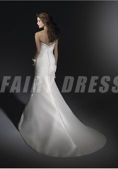 Robe de mariée élégante sirène à traîne Court ornée de strass sans bretelle avec fleur