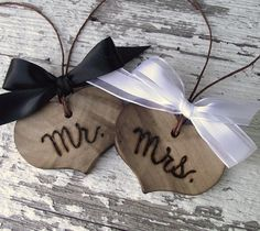 Mr. and Mrs. Wood Heart Charms - Wood Burned
