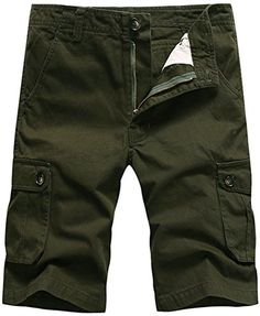Jinmen Men's casual cotton Multi-Pocket Camouflage shorts-No Belt (W33, PT158703-Army Green) - Brought to you by Avarsha.com