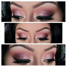 1)Started off with the Anastasia Brow Wiz in Ebony to fill in my brows 2) Next I highlighted my brow bone with MAC Blanc Type e/s. Then I proceeded to blend Brown Script e/s into my crease until I got my desired colour deposit. 3) I then turned to my Sleek Storm palette and applied the burgundy shade to the outer half and a little into the crease of my eye. 4) lastly, I mixed the light pink shade and the pale champagne shade in the palette and applied it to the first half of my lid. 5)…