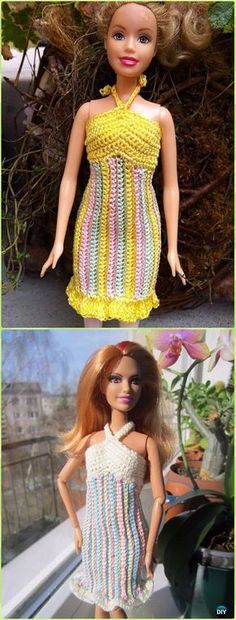 Crochet Striped Sherbet SundressFree Pattern - Crochet Barbie Fashion Doll Clothes Outfits Free Patterns