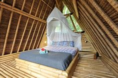 Check out this awesome listing on Airbnb: Eco Bamboo Home with water wheel - Houses for Rent in Selat A Frame Cabin, A Frame House, Bamboo Village, Bamboo House Design, Bamboo Building, Hut House, Bamboo Structure, Bamboo Architecture, Beautiful Living Rooms