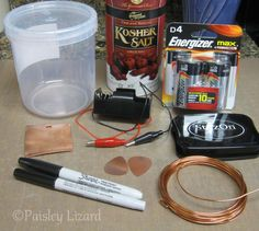 Materials needed for salt water etching for making jewelry