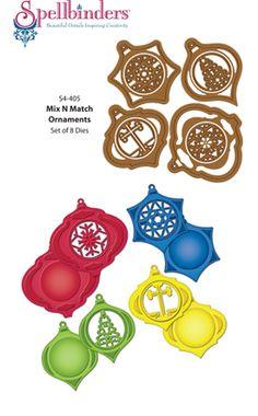 JustRite Papercraft   Spellbinders   S4-405 Mix N Match Ornaments Spellbinders Christmas Dies