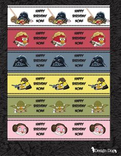 Star Wars Angry Birds Water Bottle Labels by TheDesignDog on Etsy, $4.99