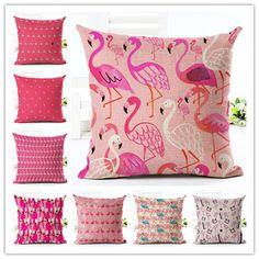 2016New Arrival Cartoon Style Color Arrangement Flamingos Print Fundas Cotton Linen Home Docor Cushion Cover Soft Pillow Cojines
