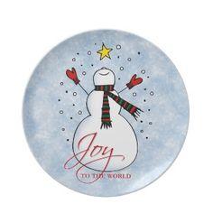 Joy to the World snowman plate.