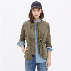 Madewell Jacket Madewell Quilted Drawstring Jacket Green khaki color 100% cotton Fill: 100% polyester Lining: 80% polyester 20% cotton New With Tags   NO Trades  Bundle Discounts Please submit offers through the OFFER BUTTON for private negotiating! Madewell Jackets & Coats Utility Jackets