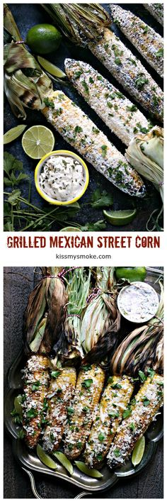 This Mexican Street Corn is grilled over charcoal then slathered with creamy goodness, sprinkled with delicious cheese, and garnished with cilantro and limes. Barbecue Recipes, Grilling Recipes, Traeger Recipes, Outdoor Cooking Recipes, Side Dish Recipes, Side Dishes, Corn Dishes, Dinner Recipes, Mexican Street Corn