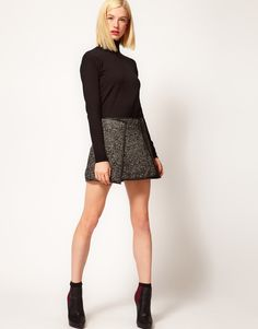 Tweed Skirt with Leather Look Trim